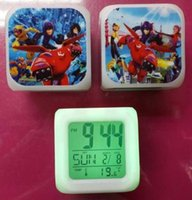Wholesale 6 New Arrival Big Hero Clocks Cartoon Change Colorful Children Girls Boys High Quality LED Alarm Clock