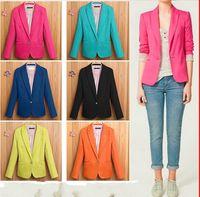 Wholesale 6 Colours Spring autumn Ladies Women Suit Blazer Jacket Coat Foldable Sleeves Neon Candy