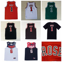 Wholesale wholesal Best Stitched men s Derrick Rose All style Jersey Black Red White Green New Throwback Alternate Rose Jersey size S XXXL Mix orde