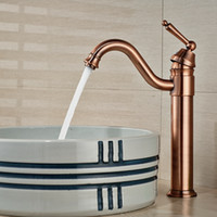basin mixer taps swivel spout - And Retail Red Bronze Bathroom Basin Faucet Swivel Spout Vanity Sink Mixer Tap Single Handle Hole Hot and Cold Water