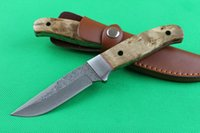 damascus knife - Drop shipping Damascus Straight Fixed blade knife HRC Wood handle Outdoor Camping Straight Hunting knife knives with leather sheath