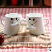 Wholesale Korean expression hug for eco friendly cup hold couples glass coffee cup for cup creative glass tea cups drink ware