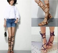 adhesive bandage brands - 2016 brand new designer Faux Leather Strappy Roman Goth Gladiator Thong Lace Up Bandage Sandals knee high boots Flat Shoes