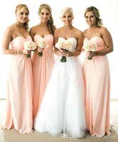Wholesale 2016 Cheap Sheer Bridesmaid Dresses Sweetheart Empire Chiffon Pregnant Maternity Long Chiffon Beach Maid of Honor Party Prom Gowns BA1629