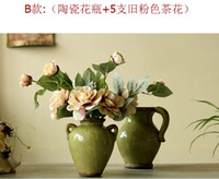 Wholesale Simulation flowers artificial flowers five short shoot new camellia green vase Table table floral suit