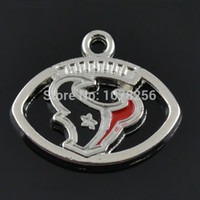 Wholesale 50pcs zinc alloy rhodium plated enamel football sports team logo charms