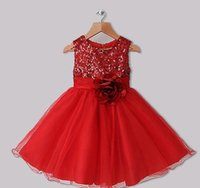 Wholesale 2014 Christmas Hot seller Girls Dresses Red Polyester Dresses With Sequins And Rose Flower Infant Princess Dresses Baby party dress GD001