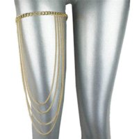 Wholesale 2015 New Women Multilayer Wave Tassel Alloy Gold Plated Sexy Tier Thigh Leg Chain Jewelry Body Bikini Beach Harness A00074