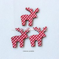 christmas crafts - Red checked fabric reindeer wood back Christmas crafts hair pin rings bulk GJ1037B