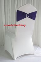 Wholesale SILVER elastic chair band for wedding decoration spandex sash for cover chair lycra chair band