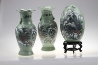 Cheap New classical Chinese landscape dark green ceramic vase crack   furniture, home accessories matching wholesale