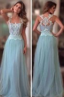 allure prom gowns - Allure Light Blue Formal Evening Dresses A Line Jewel Lace Appliques Backless Sweep Train Prom Dresses Tulle Party Gowns