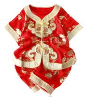 Wholesale Children and baby chinese style cotton Tang suit girl boy summer for year old formal dress gold red