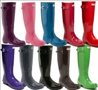 Wholesale 2015 new Ms glossy Rain Boots Waterproof Women Wellies Boots Woman Rain Boots High Boot Rain boots Hot Sale