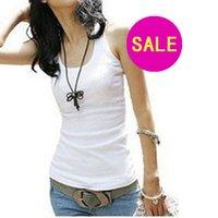 Wholesale 2014 Summer hot selling Woman Cotton Rib Knitting Women s Tank Tops Long Design Lady T shirt Drop Shipping