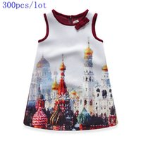 american buildings - New Baby girls Cotton sleeveless Dobby Buildings printed Christmas Party princess dress Spring Summer Autumn