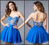 affordable quality - 2015 sparkle sexy high quality Prom Dresses Exquisite Affordable A Line Sweetheart Sequin Chiffon Corset Back Royal Blue Homecoming Dresses