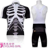 Wholesale New style amazing cycling jerseys skeleton cycling jersey Short Sleeves Bib tights Set Riding Clothes finland cycling jersey C00S