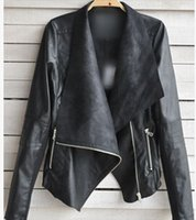 Wholesale 2014 New Arrival Spring Long Sleeve PU leather Jacket Big Lapel Collor Leather Jackets Women Slim Coats Feminino Jaqueta couro