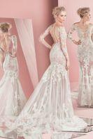 Wholesale Spring Summer Zuhair Murad Wedding Dresses New Illusion Bodice Sheer Skirts Long Sleeved Wedding Dress Latest Mermaid Wedding Gowns