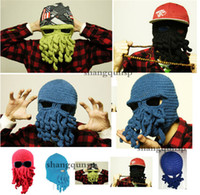 best knitting yarn - hot sale best price Novelty Handmade Knitting Wool Funny Beard Winter Octopus Hats caps Christmas Party Crocheted beanies unisex Gift