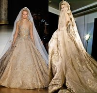 Cheap Stunning Elie Saab Ball Gown Lace Wedding Dress With Gold Applique Beads Sequins Sheer Bateau Bridal Gown With Long Sleeves Chapel Train