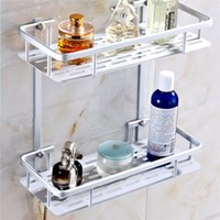 aluminium shelves - Aluminium Bathroom Shower Rack Hanging Cosmetic Make Up Storage Soap Kitchen Shelf Accessories Holder Layers Optional