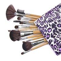 beauty secrets women - New Makeup Brushes Sets Kits Purple Elegant Leopard Bag Women Beauty Secret Weapon