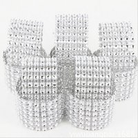 Wholesale New Shiny Silver Rows Drill Napkin Ring Buckle For Wedding Party Banquet Table Decoration Chair Sheer Rhinestone Bow Supplies
