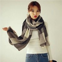 Wholesale Korea new autumn and winter warm cashmere wool scarf blue and white squares female Korean large shawl collar