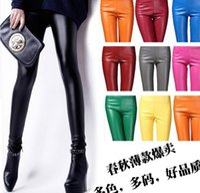Cheap Spring Autumn Hot Fashion Candy Colors Leather Leggings for Women Sexy Elegant Women Long Pencil Pants Leather Long Leggings ecc2850