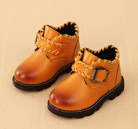 Wholesale Children Short Boots Winter Hot Fashion Korean Style Girls Matin Boots Thickened Kids Leisure Shoes pair Fit Age T1652