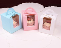 Wholesale and retail Paper Cupcake box with pvc window Tow Muffin Box with Window with handle