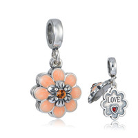 Wholesale New sterling silver love flower dangle pendants beads fit European charms bracelets or necklace for pandora style jewelry No80 S406