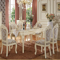 Wholesale Continental Carved Wood Dinette combination of French garden Dining Table flowers white rectangular Dining Table