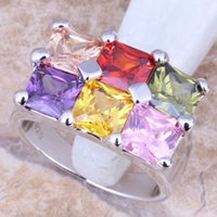 Cheap Dazzling Multicolor Citrine 925 Sterling Silver Overlay Women's Fine Jewelry Ring Size 6 7 8 9 Free Gift Bag R1124