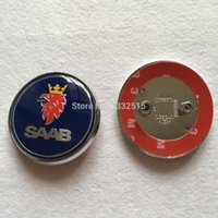 Wholesale Car styling DHL blue black carbon fiber SAAB mm Bonnet rear Boot Badges Emblem wtih Pins car badges decoration