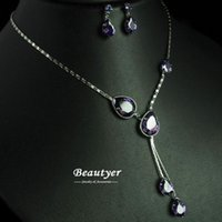 Others Asian & East Indian Women's Trendy Amethyst Water Drop Cubic Zirconia Prom Jewelry Sets For V Neck Dress Bridesmaid Necklace Sets Wholesale Beautyer XL102