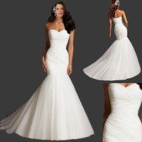 Wholesale Classic Simple Mermaid Tulle Wedding Dresses Custom Made Elegant New Sweetheart Strapless Lace Up Back Chapel Train Bridal Dresses Gowns