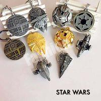 Wholesale DHL Star Wars Keychain Airship Metal Key Buckle Star Trek Spaceship Battleship Key Ring Children Cartoon Gift with Retail Package Styles
