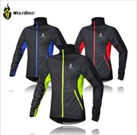 Wholesale WOLFBIKE Hot Men s Cycling Jacket Coat Bicycle Mountain Bike Long Sleeve Jersey Clothes Winter Thermal Fleece Windproof Jackets free shippii