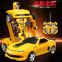 Wholesale 2015 New Optimus Prime Transformation Remote Control Car Deformation Robots Action Figures Robot Truck RC truck electronic Toy