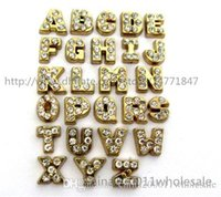 Cheap 26pcs Gold floating letters Floating Charms FC270 4--8mm Fit Charms Locket Memory Living Magnet Glass Floating Locket Free shipping