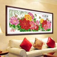 la impresión al por mayor de 3D-puntada precisa serie nueva sala de estar riqueza casa llena y un buen estudio de la fortuna de peonía pintada de punto de cruz de flores