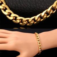 Chain Cuban Link Hot Collier Bracelet Trois 18K couleur or réel / Rose Gold / Platinum Plaqué Fashion Design Hommes Bijoux Accessoires Chunky