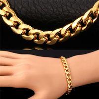 al por mayor collar de la joyería de oro rosa plateado-Pulsera caliente del collar de la cadena del acoplamiento tres colores 18K oro real / oro de Rose / platino plateó los accesorios fornidos de la joyería de los hombres de la manera del diseño