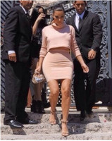 Wholesale new fashion Women sexy nude long sleeve kim kardashian high neck two piece set celebrity Party Dress