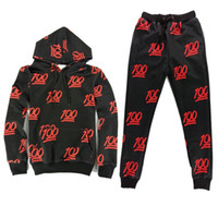 Wholesale Red Emoji Joggers Outfits Black Sports set One Hundred Emoji Printed Outfit Hoodies Sweatshirts Pants Sweatpants Clothes Set tracksuits