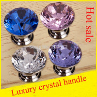 Wholesale 10pcs Pack Crystal door handle Crystal Fruniture Cabinet Knob Diamond crystal hole drawer wardrobe handle With Screw