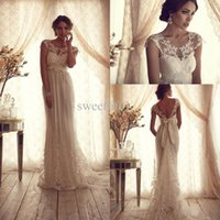 beach wedding collections - Anna Campbell Gossamer Collection Wedding Dresses Crew Capped Sleeves Lace Appliques Bow A Line Floor Length Empire Beach Bridal Dress